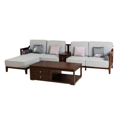 新中式现代简约纯实木客厅沙发转角沙发