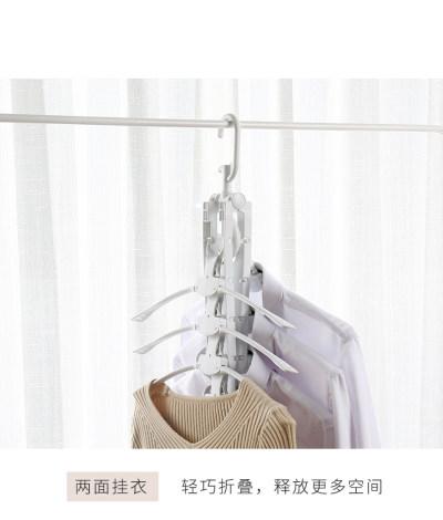 多功能衣架收纳神器家用晾衣服架魔术衣撑衣挂钩无痕折叠挂衣架子 多功能晾晒,省空间收纳;一件抵8件。