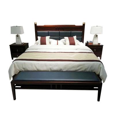 新中式现代简约纯实木卧室组合床床头柜