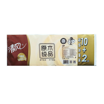 清风3层150g原木纯品超值装12卷(商家代发,货到付款)