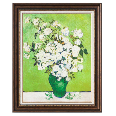 油画梵高(瓶中的白玫瑰)