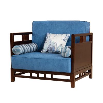 新中式简约纯实木客厅沙发单人位沙发