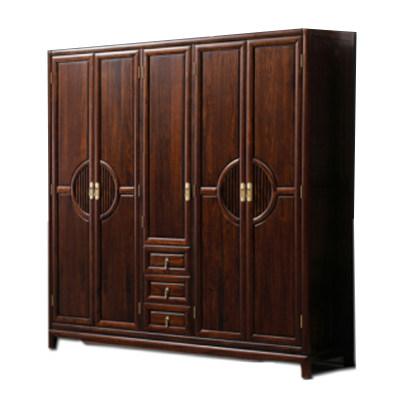 新中式现代简约纯实木卧室五门衣柜