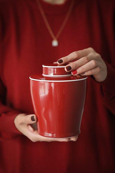 霁红双盖茶叶罐