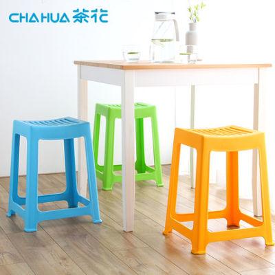 茶花凳子塑料弧形凳家用凳子成人餐桌椅方凳加固板凳