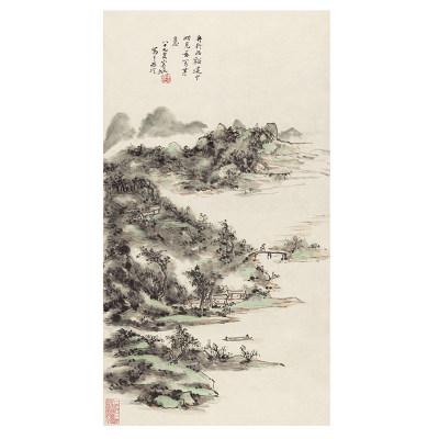 黄宾虹 舟行溪谷图